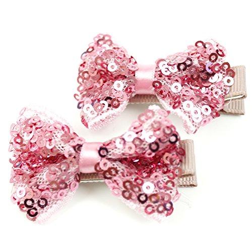 rougecaramel - Accessoires cheveux - Pince cheveux enfant 2pcs tissu sequin - rose