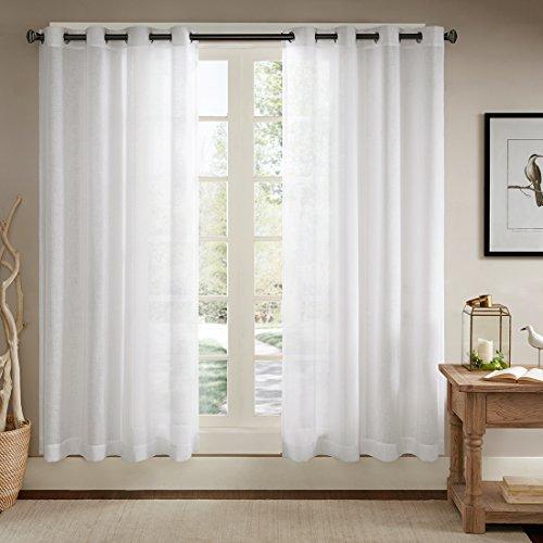 Ösenschal Voile Vorhang in Leinen-Optik Leinenstruktur Ösenvorhang Gardine mit Ösen Solid Sheer Wohnzimmer Elegant, Off White (2er-Set, je 245x140cm) (Elegante Wohnzimmer-gardinen)