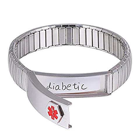 Wollet Jewelry (Put Details in the Lift Up Section, Customized Medical Card + stripe) Ladies / women / men ID Bracelet Elastic Stainless Steel Medical Alert Bracelet