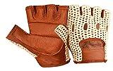 Kango Fitness Rollstuhl-Handschuhe, echtes weiches Leder, Netznetz, fingerlos, für Fahren, Gewicht, Training, Radfahren, W-1037, Unisex Herren, hautfarben, XX-Large