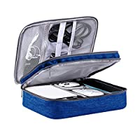 LIVACASA Cable Organiser Bag Travel Double-Layer Gadget Travel Bag Electronics Accessories Cable Storage Carry Organiser Case 10.6x8x4Inches Dark Blue