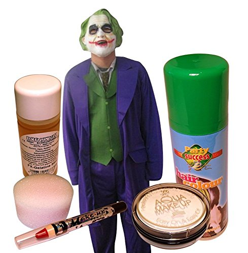 Herren-Kostüm JOKER + HOCHWERTIGES SCHMINKSET Make-Up Kit, (Joker Kostüme Make Up)
