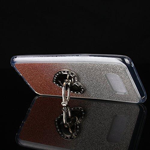 Coque Galaxy Note 8 Shiny,Coque Rigide pour Samsung Galaxy Note 8,Ekakashop Creative Transparente Clair Diamant Violet Brillant Cover Bling Strass Soft TPU Silicone Crystal Clair Souple Gel Housse de  Pente Rose D'or Bague