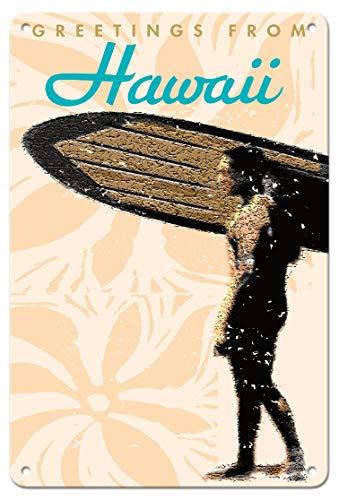 Pacifica Island Art Wade Koniakowsky Poster Grüße aus Hawaii - Hawaiian Surfer - Vintage Reiseposter von Wade Koniakowsky - Fine Art Print 8 x 12 in Tin Sign Mehrfarbig -