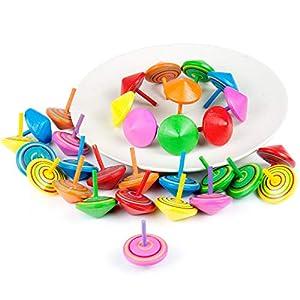 Comius Juego de peonzas, Lote de 30 Peonzas de Madera de Colores - Regalos y Detalles para Comuniones, Niños, Niñas, Fiestas de Cumpleaños de Comius