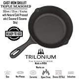 Trilonium Triple Seasoned Cast Iron Skillet/Fry Pan 8 inches / 20 cms