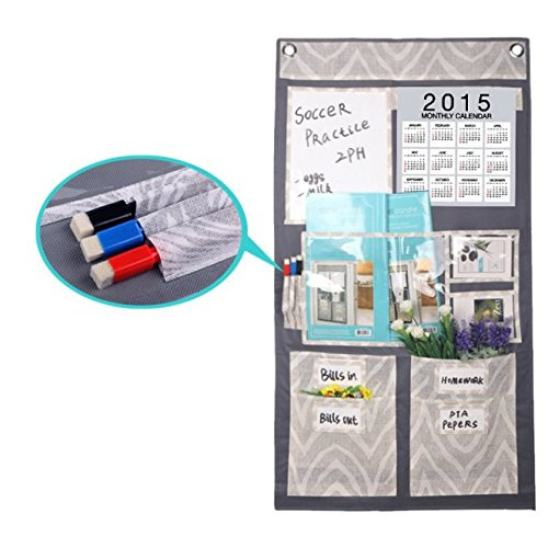 Multi Pocket Non-woven Fabric Over the Door/Wall//Shelf Hanging Storage Bag Caddy Organizer Tidy Closet System Holder for Month Calender Memo Board CD Magazine Stationery,2 Metal Hooks+3 Eraser Pens