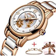 Relojes para Mujer SUNKTA,Cuarzo analógico Reloj Impermeable Cerámica Relojes de Pulsera Negocios Casual Señoras