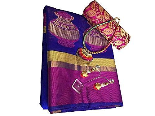 Florely Cotton Saree With Blouse Piece (Matka_Blue_Cotton_Blue_Free Size)