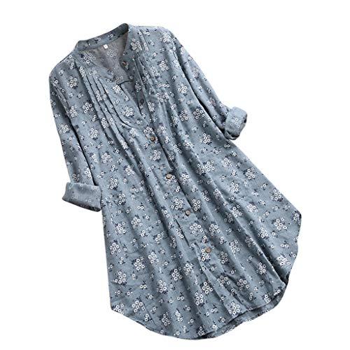 Supertong Damen V-Ausschnitt Plissee Blumendruck Langarm Tops T-Shirt Bluse Sommer lose Größe Leinen Knopf Hemd mit Tasche Mode Lange sandigen Strand Shirt Tops -