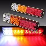 Paio Luci Posteriori LED / 2x20 Lampade di Freno Luce Bianco Arancione Rosso / Indicatori Direzione Fanale Universale per 12V 24V Auto Camion Rimorchio Caravan