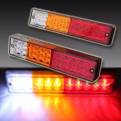 Paio Luci Posteriori LED / 2x20 Lampade di Freno Luce Bianco Arancione Rosso / Indicatori Direzione Fanale Universale per 12V 24V Auto Camion Rimorchio Carav