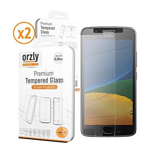 Protector de Pantalla MOTO G5, PACK DE DOS - Orzly - Protector de Pantalla de Prima de Cristal Templado (0,24mm) para Motorola Moto G5 SmartPhone (2017 Modelo 5.0 Pulgadas Teléfono Móvil) - Transparent