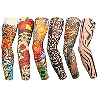 Autek Set of 6 tattoos, tattooed sleeves, arm sleeve stockings, tattoo sleeve, collection set J.
