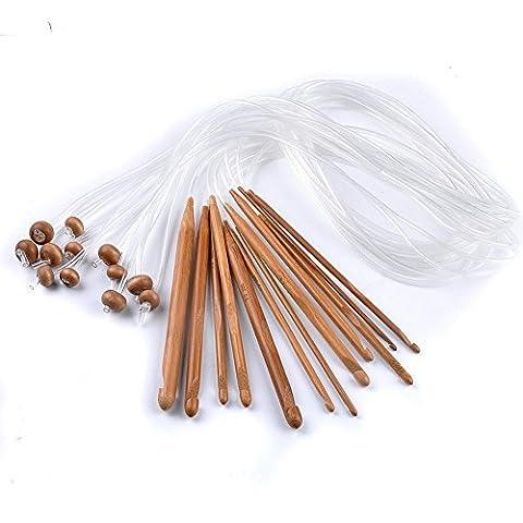 Raysen Tunesische Bambus Afghanische Häkelnadel verschwelt Bambus Nadel Teppich Extended Crochets in Verschiedenen Größen ( 3-10mm) Gesamtlänge von 1,2 m