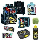 Familando Transformers Schulranzen-Set 8-TLG. mit doppel Federmappe gefüllt, Turnbeutel und Regenschutz.