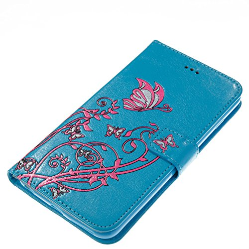 Custodia iPhone 6, iPhone 6S Flip Case Leather, SainCat Custodia in Pelle Cover per iPhone 6/6S, Bling Glitter Anti-Scratch Book Style Protettiva Caso PU Leather Flip Portafoglio Custodia Libro Protet Blu