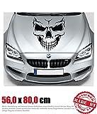 Evil Skull Motorhaubenaufkleber 56,0 cm x 80,0 cm Auto Aufkleber JDM OEM Tuning Sticker Decal 30 Farben zur Auswahl