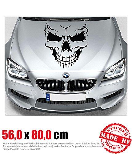 Evil Skull Motorhaubenaufkleber 560 Cm X 800 Cm Auto Aufkleber Jdm Oem Tuning Sticker Decal 30 Farben Zur Auswahl