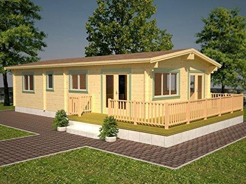 Wochenendhaus Prunus P11 naturbelassen - 70 mm Blockbohlenhaus, Grundfläche: 68,20 m² mit Terrasse, Satteldach