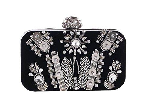 Fabelhaft Neue Handgemachte Perlen Abendtasche Samt Tasche Black