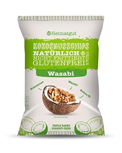 Heimatgut Kokosnusschips Wasabi ( 6 x 40g ) 3-fach gebackene Chips aus Kokosnuss. Veganer und glutenfreier Snack mit echtem lecker scharfem Wasabi. (Chips Gebacken)