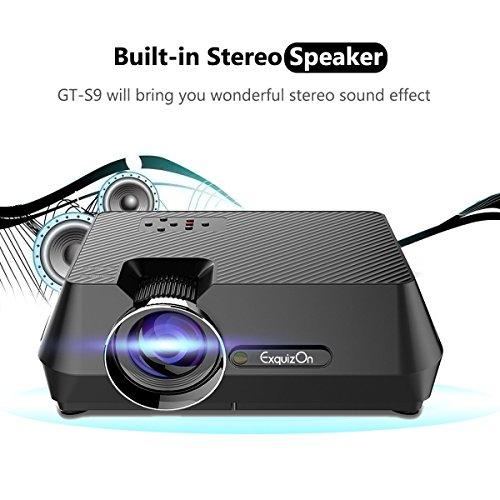 Exquizon GT-S9 Vidéoprojecteur Portable LED Soutien HD 1080p HDMI USB VGA AV SD, Retroprojecteur 1800 lumens LED HD 1080p Projecteurs pour Jeu Video Photos Films Match de Football