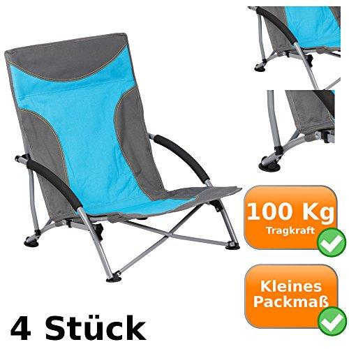 4er Set Strandstühle je 100 Kg Tragkraft, ideal für Camping, Outdooraktivitäten, als Angelstuhl, für Festivals, am Strand oder Garten, Klappstuhl mit kleinem Packmaß, inklusive Tragetasche, blau-grau