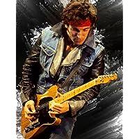 Bruce Springsteen. Acrílico original pintura contemporánea en la lona por Brian Tones 90x117 cm