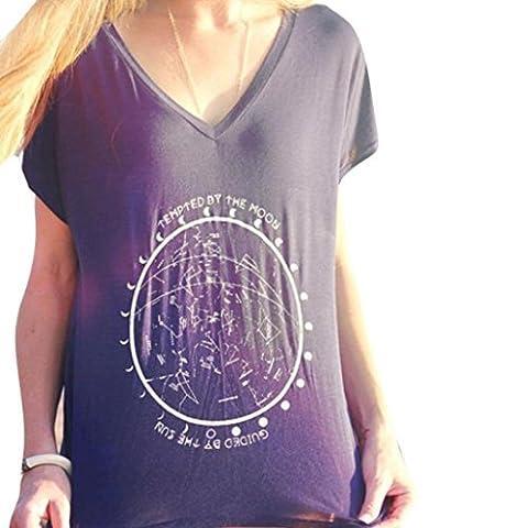 OverDose Women Summer Loose Top Short Sleeve Blouse Off Shoulder Casual Tops T-Shirt