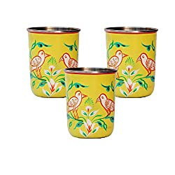 eCraftIndia Set of 3 Handpainted Decorative Steel Glass - 109 Yellow Color