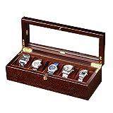Guarda la scatola Watch Box / 5 trogolo Collezione di gioielli Espositore di finitura Scatola di legno/Copertura di vetro Espositore di gioielli Scatola di immagazzinaggio Legno, A, Scatola