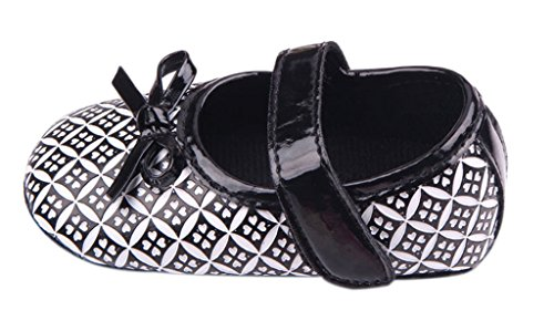 La vogue Kleinkind Schuhe Klettverschluss Krabbelschuhe mit Bogen Schwarz