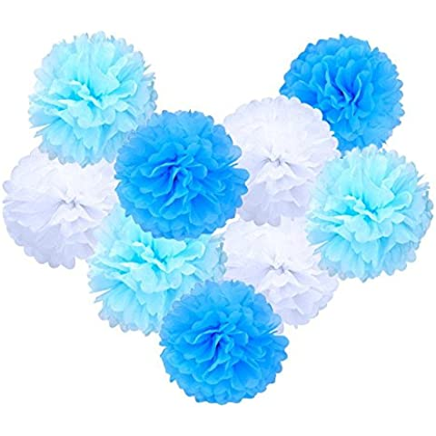 eBoot Pompon in Carta Velina Decorativo Palla Fiore Per Matrimonio Party Compleanno Docce da Sposa e altre Occasioni Speciali, 9pz - Colorata Tessuto Blu