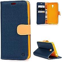 Meizu M2 Note Funda Libro de Paño Leather Cuero - Mavis's Diary Funda para móvil Carcasa Con Flip case cover,Cierre Magnético,Función de Soporte,Billetera con Tapa para Tarjetas-Color de azul marino