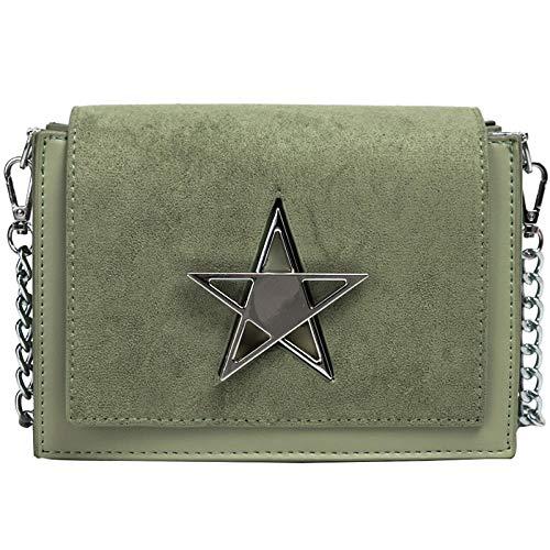 CHAOBAOBAO Damen Umhängetasche Matte Tasche Messenger Bag Kette Tasche Personalisierte Schloss Mode Kleine Quadratische Tasche,Grün