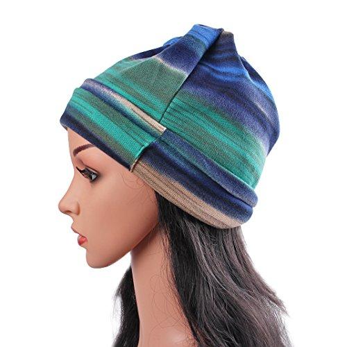 Das Kopftuch Damen Hut, Asnlove Unisex Damen Mode Multipurpose Hip-Hop Kopftücher 3D Blume Hut Bandanas Halstuch Biker Tuch Paisley Muster 26 x 26 CM, Blau