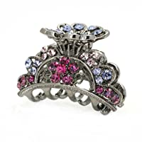 Glamorousky Elegant Hair Clip in Pink and Purple Austrian Element Crystals (689)