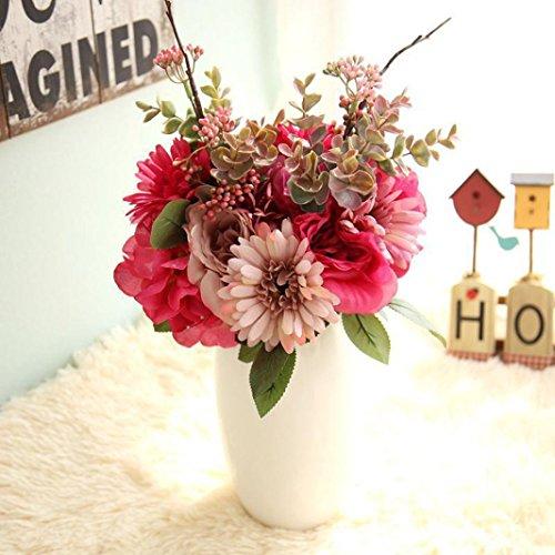 Longra Wohnaccessoires & Deko Kunstblumen Künstliche Seide Kunstblumen 9 Köpfe Blatt Hochzeit Blumen Dekor Bouquet Rose (05A: 1 Strauß)