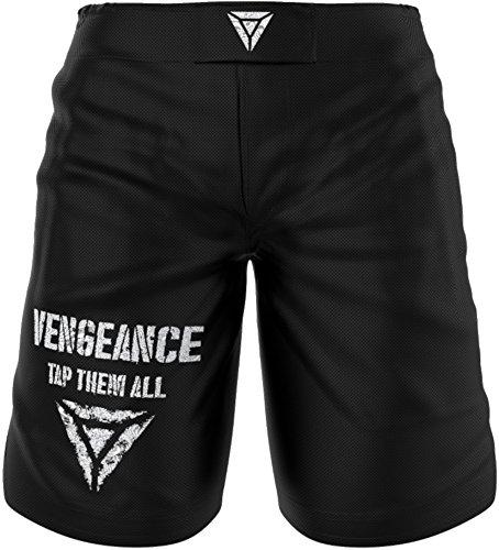 Shorts für MMA, BJJ, No Gi Grappling, Krav Maga, Boxen, Kickboxen, Muay Thai, Fitness, Kampfsport - kurze Hose für Damen und Herren - reißfestes robustes Material in höchster Qualität - schwarz / weiß (XL)