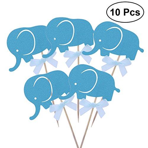 BESTOYARD 20 stücke Kuchen Cupcake Zahnstocher Topper Elefanten Kuchen Dekoration für Party Dessert (Blau) Blau, Dessert
