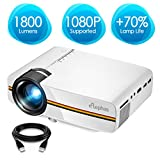 "ELEPHAS LED Video Projector, Updated LCD Technology Support 1080P 150"" Portable Mini Multimedia Projector Ideal for Home Theatre Entertainment Games Parties, White"