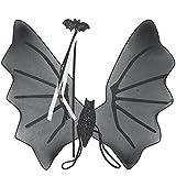 COM-FOUR® Kostüm Set Flügel und Stab, Fledermaus Zubehör Flügel und Zauberstab zum Umhängen und Schwingen für Karneval, Fasching, Halloween und Motto Partys