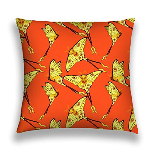NDJHEH Kissenbezüge Throw Pillow Cover Pillowcase Seamless Pattern Butterfly Madagascar Comet Moth Moon il orange Charming Sofa Home Decorative Cushion Case 18