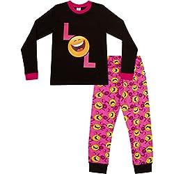 Pijama para niñas con LOL Smiley Laugh Out Loud, estilo emoticón, larga, tallas 9 a15años Rosa rosa 10 años