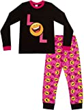 Pijama para niñas con LOL Smiley Laugh Out Loud, estilo emoticón, larga, tallas 9 a 15 años Rosa rosa 14 años