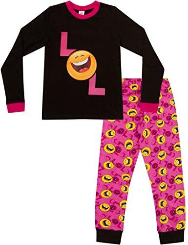 Mädchen LOL Smiley, Emoji-Stil laut lachen, langer PJ Schlafanzug 9bis 15Jahren Gr. 14 Jahre, rose (Lange Mädchen Schlafanzug)