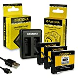 PATONA 2in1 Cargador de batería Doble + 3X Batería AHDBT-401 para GoPro HD Hero 4 Black Silver...
