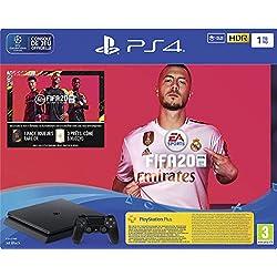 Sony PlayStation 4 Slim 1 To + FIFA 20 + PS Plus 14 jours, Avec 1 Manette Sans Fil DUALSHOCK 4 V2, Châssis F, Noir (Jet Black), Art : 9974604