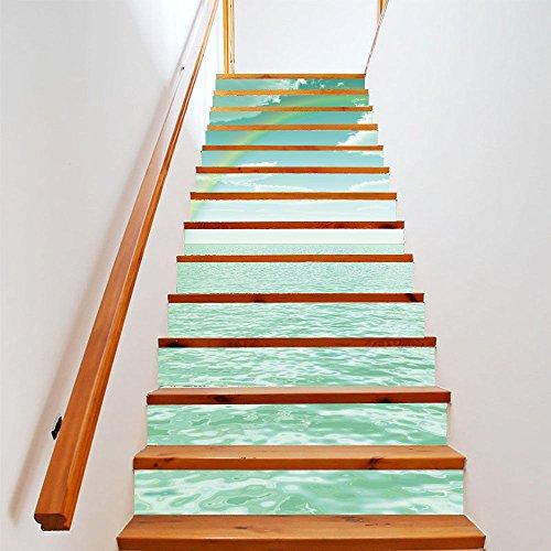 Usopu Wandtattoos & Wandbilder Usopu 13 Teile/Satz 3D Green Sea Landschaft Treppenaufkleber Wasserdicht Selbstklebende Decor Schritt Aufkleber (13 Weiße Fliesen-böden)